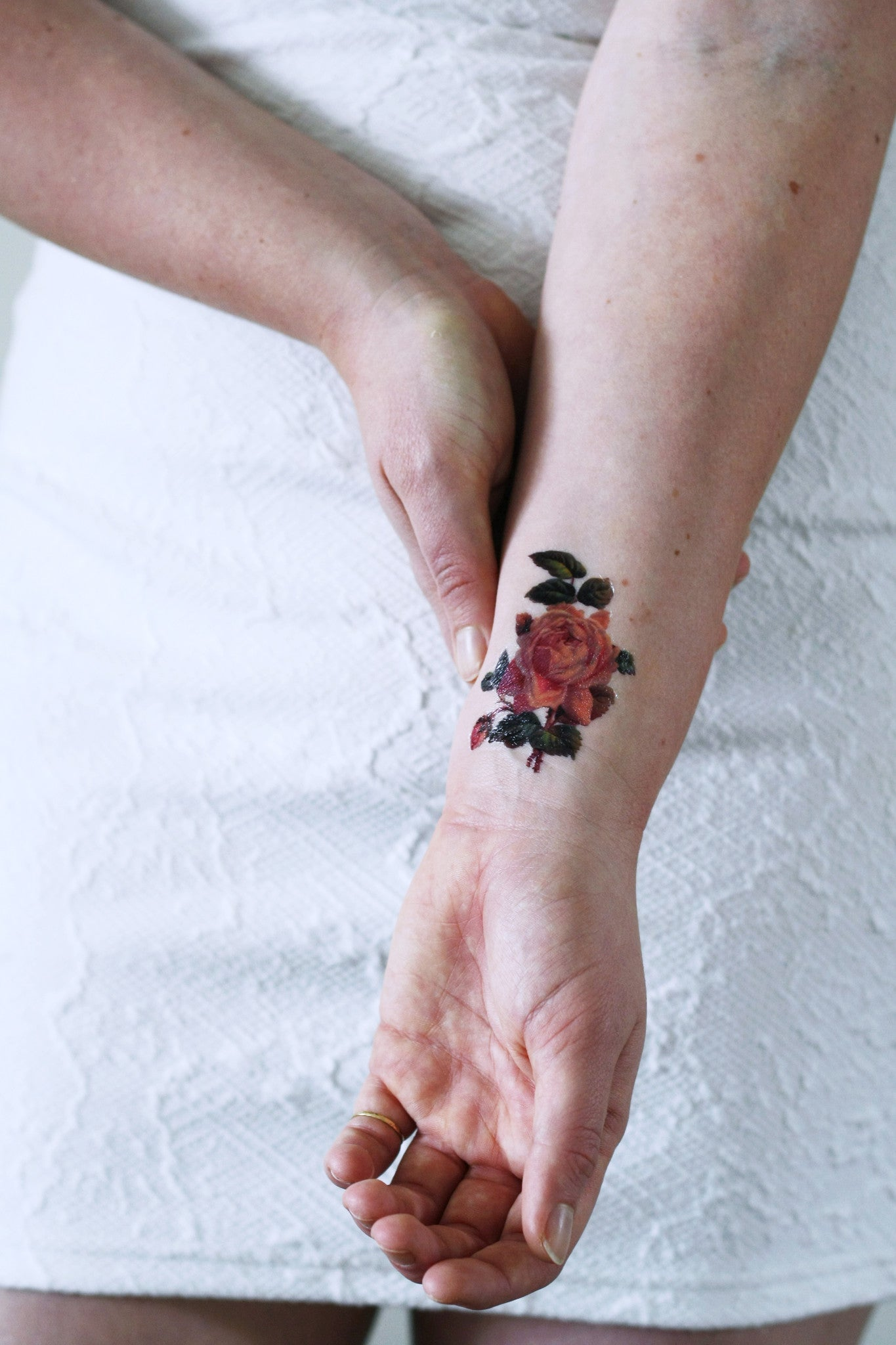 Small Tattoo Size: Small Pink Rose Temporary Tattoo