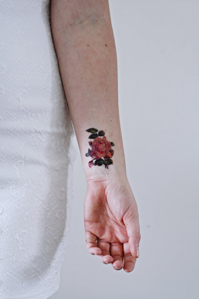 Small pink rose temporary tattoo - a temporary tattoo by Tattoorary