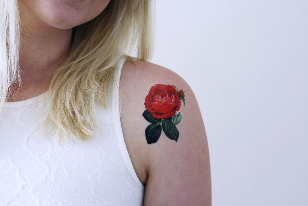 Small red rose temporary tattoo - a temporary tattoo by Tattoorary
