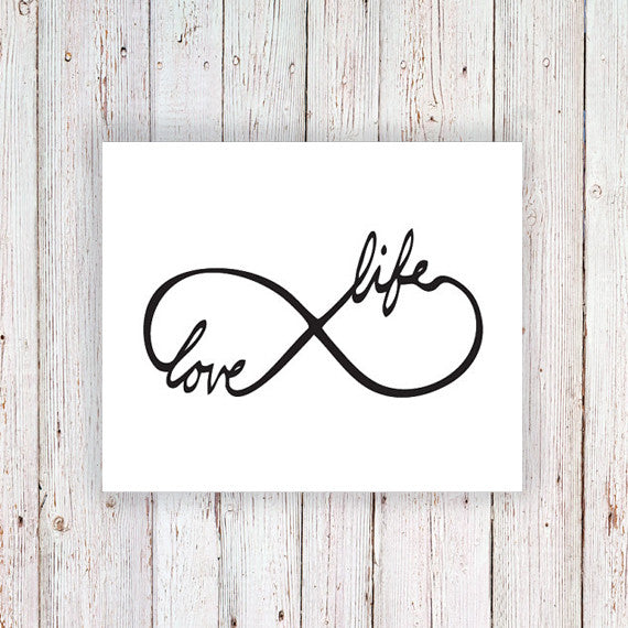 Temporary tattoo infinity symbol 'Love Life' - a temporary tattoo by Tattoorary