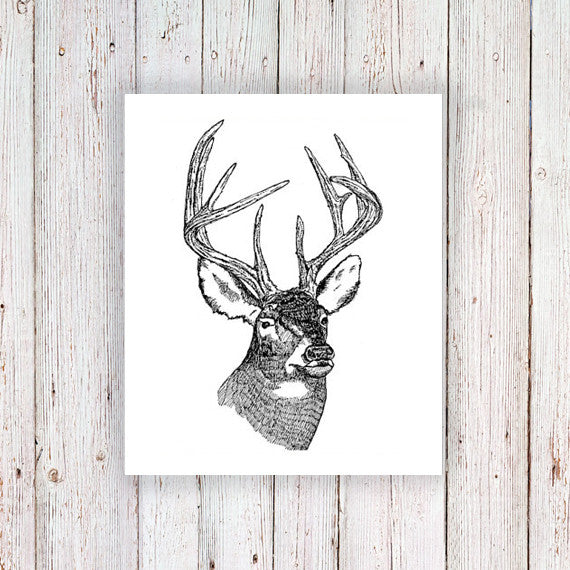 Deer head temporary tattoo - a temporary tattoo by Tattoorary