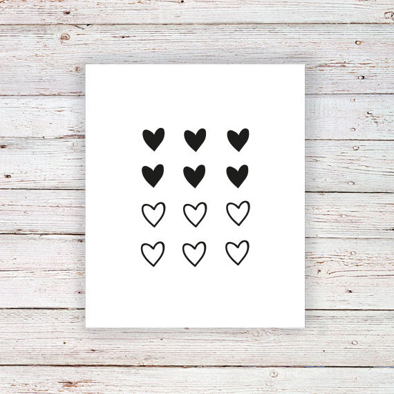 Mini heart temporary tattoo (set of 12) - a temporary tattoo by Tattoorary