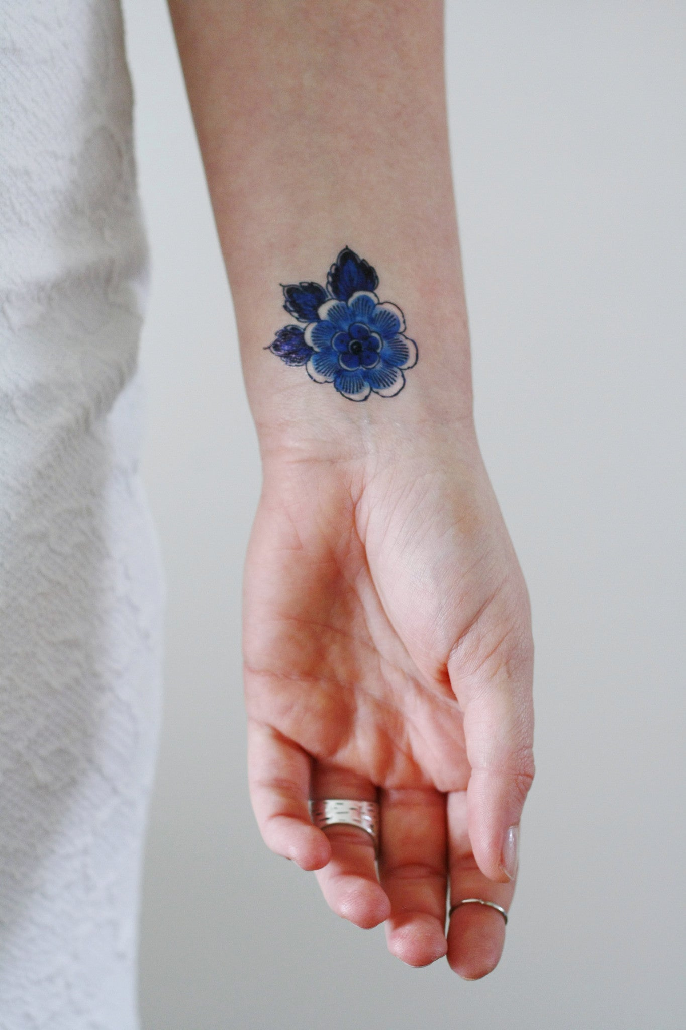 small delft blue flower tattoo temporary tattoos by