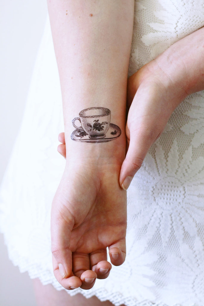 Small teacup temporary tattoo - a temporary tattoo by Tattoorary