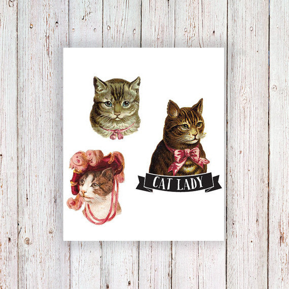Cat lady set temporary tattoo (3 pieces) - a temporary tattoo by Tattoorary