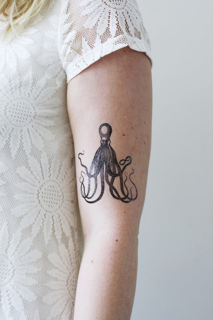 Steampunk vintage octopus temporary tattoo - a temporary tattoo by Tattoorary