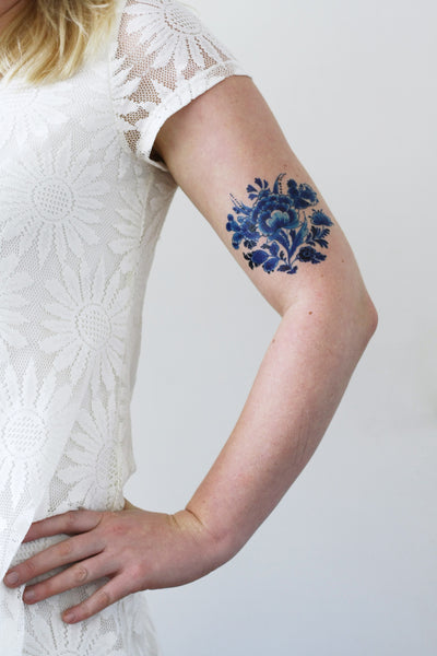 Delft Blue tattoo - a temporary tattoo by Tattoorary