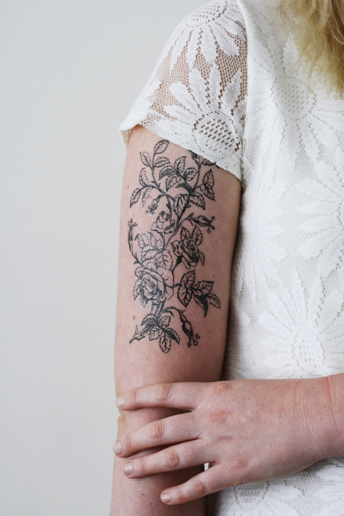 Large black and white floral tattoo temporary tattoos by for Black temporary tattoo