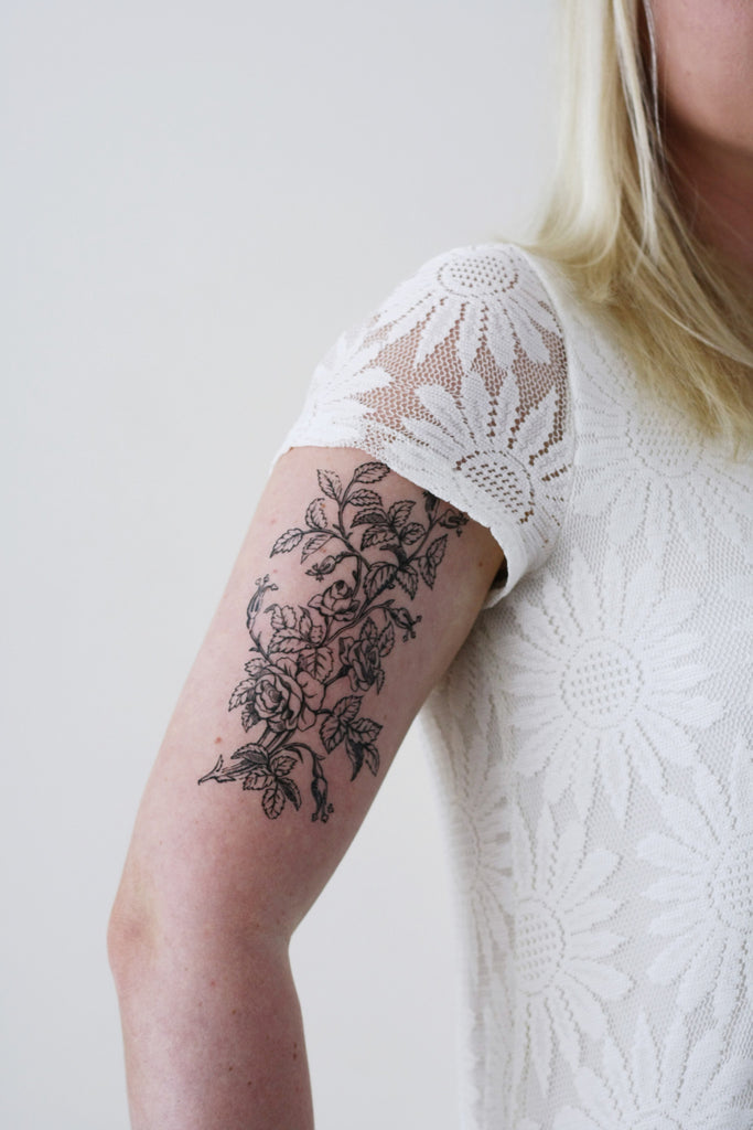 Large black and white floral tattoo temporary tattoos by for Floral temporary tattoos