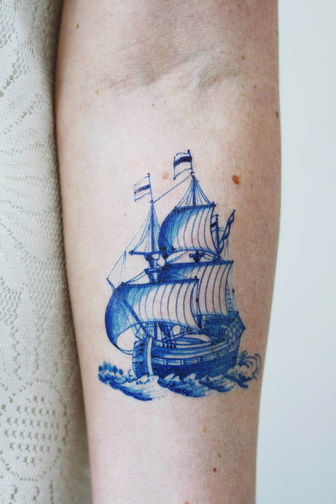 Delft Blue ship tattoo - a temporary tattoo by Tattoorary