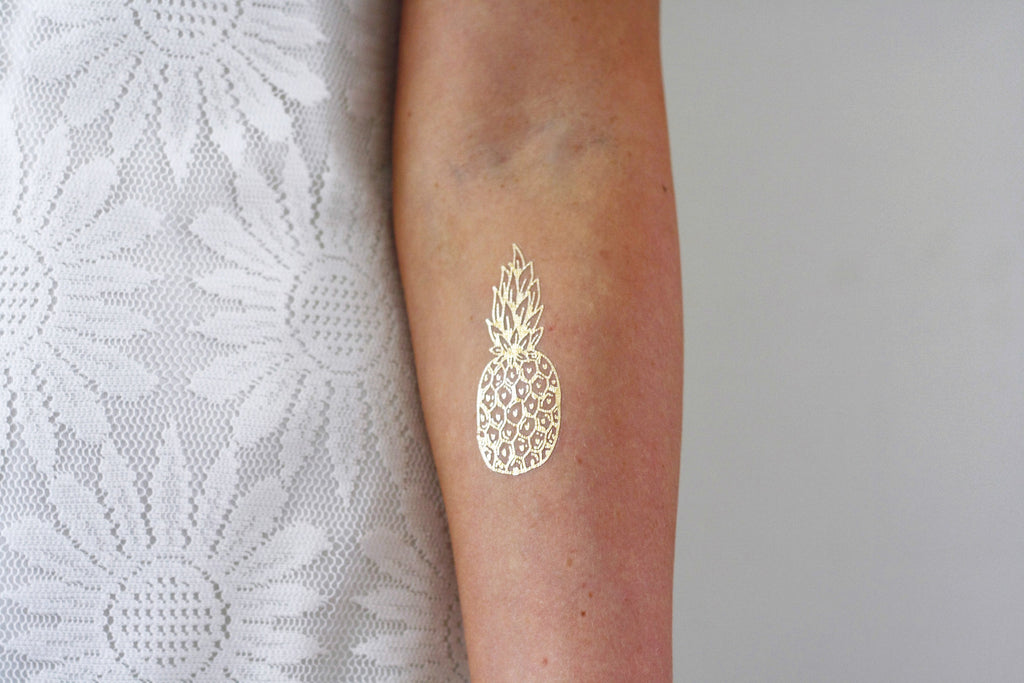 Gold pineapple temporary tattoo - a temporary tattoo by Tattoorary