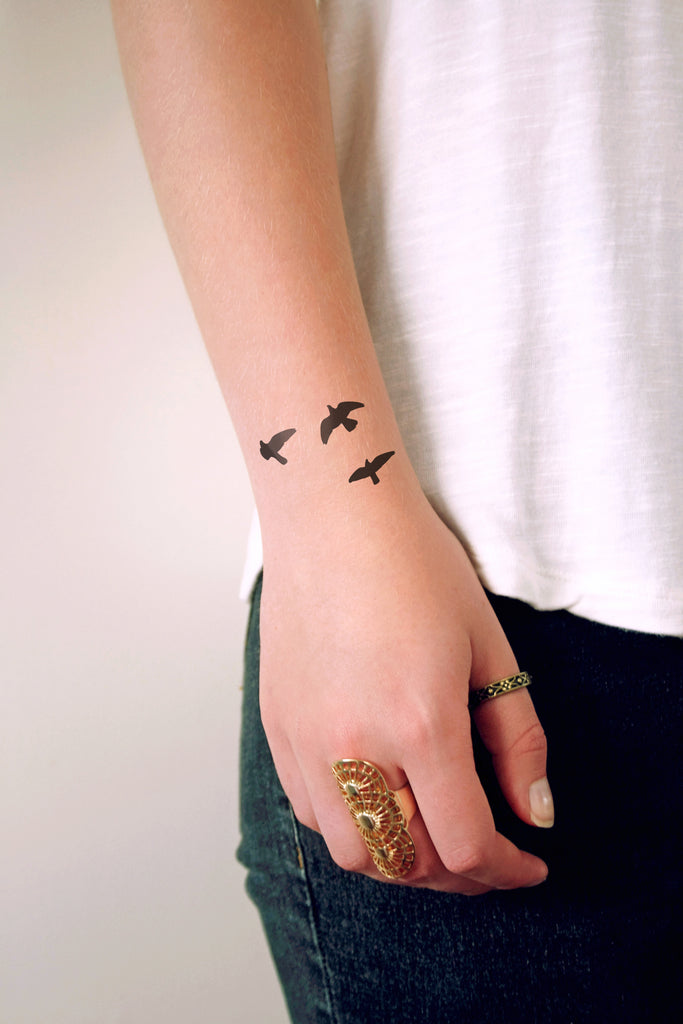 Flying birds temporary tattoo - a temporary tattoo by Tattoorary