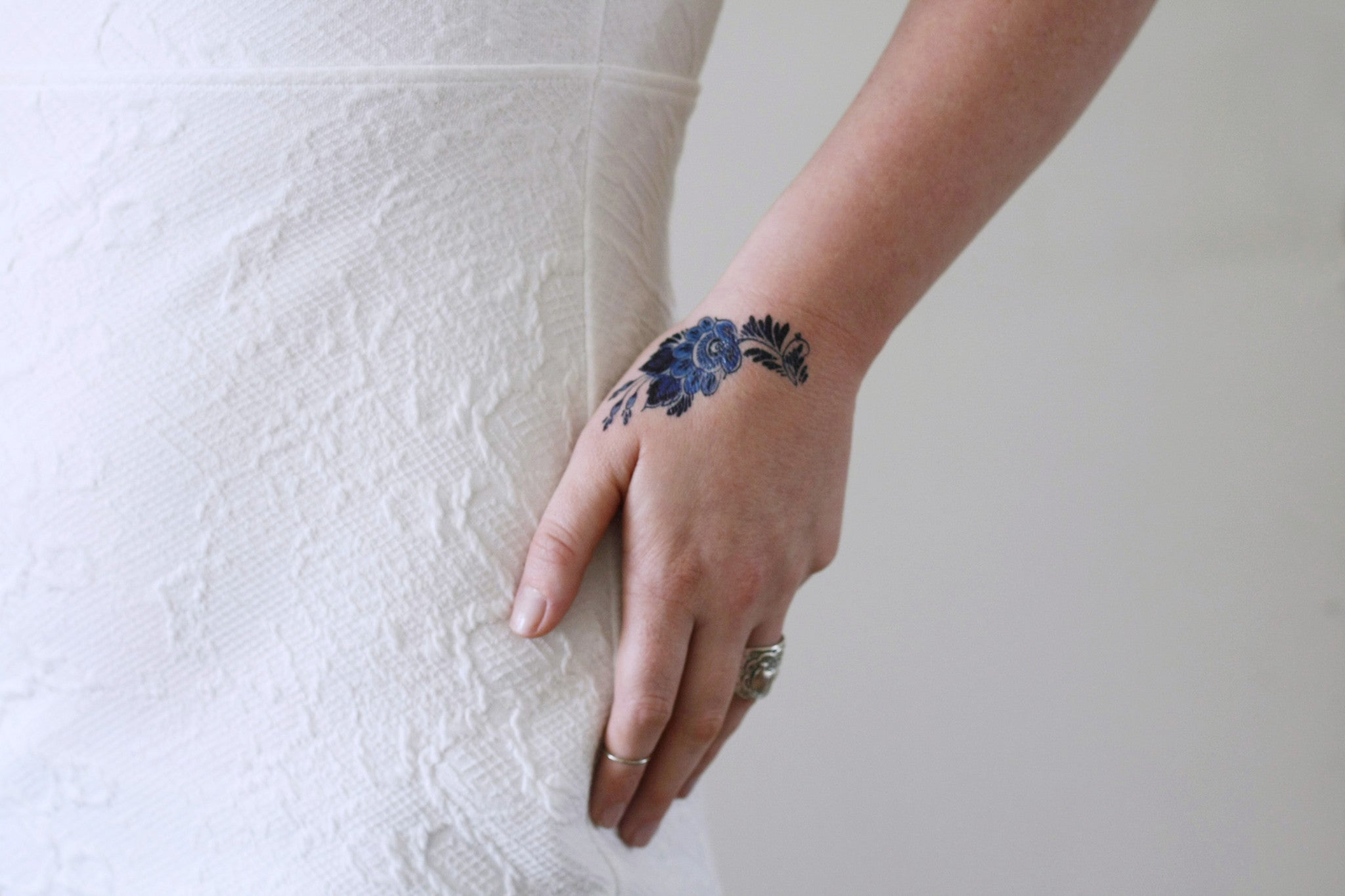 Small Delft Blue Floral Tattoo Temporary Tattoos By Tattoorary