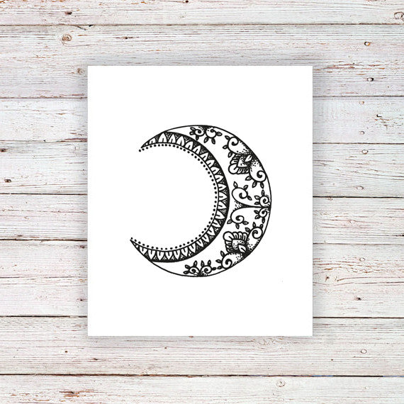 Boho moon temporary tattoo - a temporary tattoo by Tattoorary