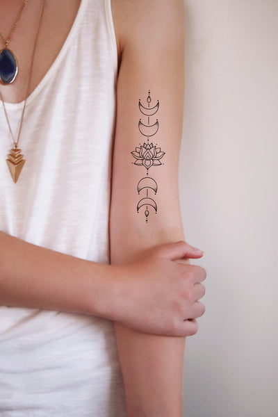Moon phase lotus temporary tattoo - a temporary tattoo by Tattoorary