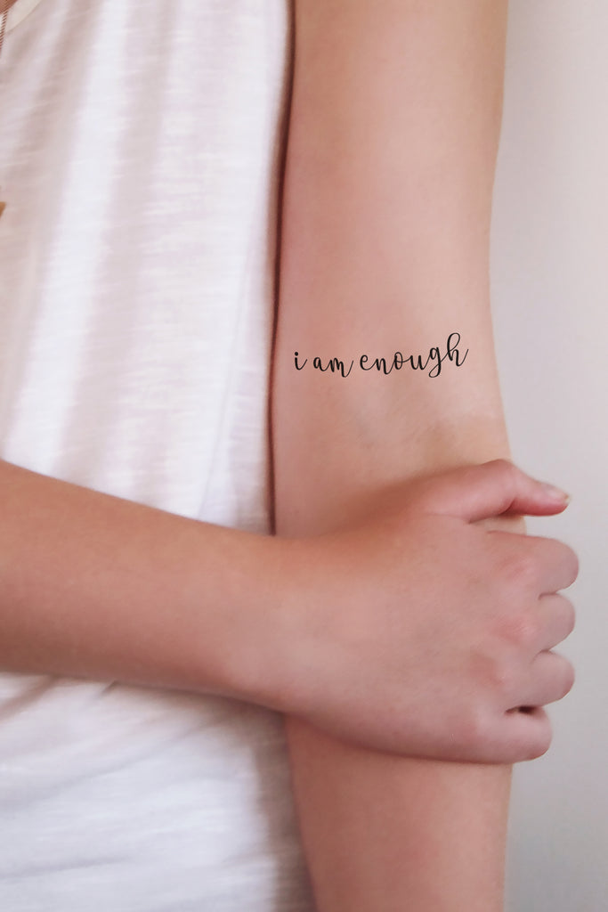 Temporary tattoo 'I am enough' (2 pieces) - a temporary tattoo by Tattoorary