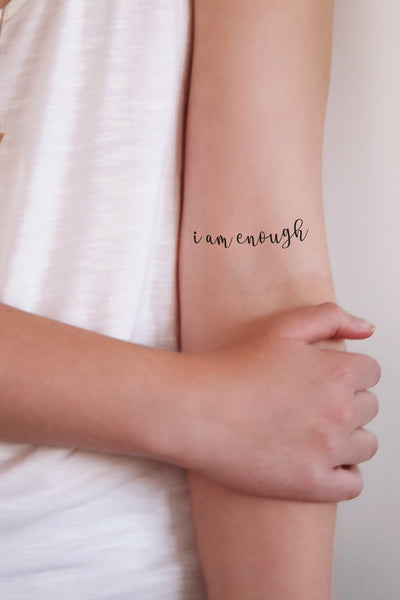 2 'I am enough' temporary tattoos