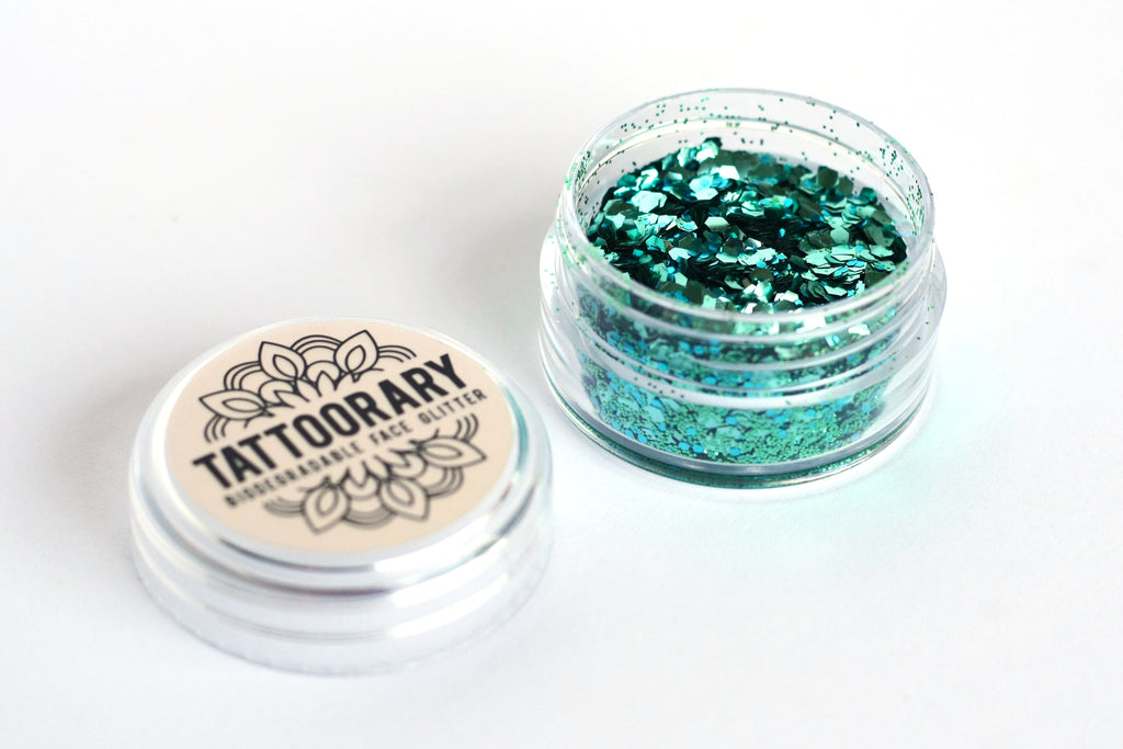 Biodegradable chunky face glitter in 'Mermaid' - a temporary tattoo by Tattoorary