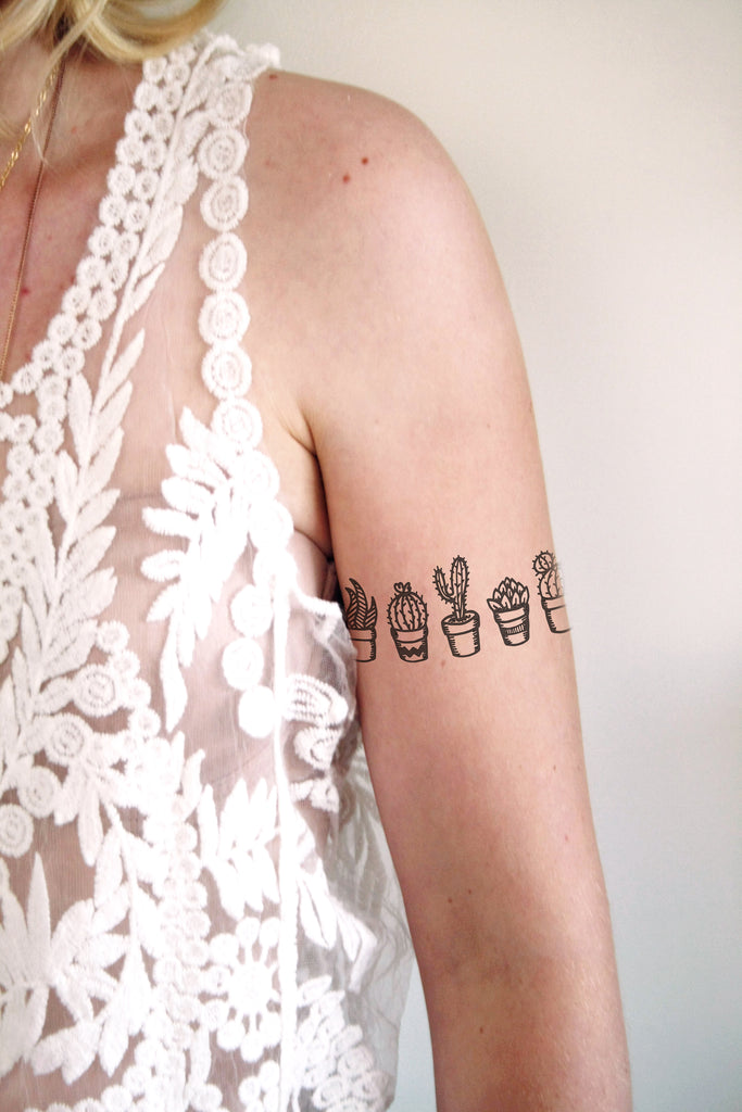 Black and white cactus temporary tattoo - a temporary tattoo by Tattoorary