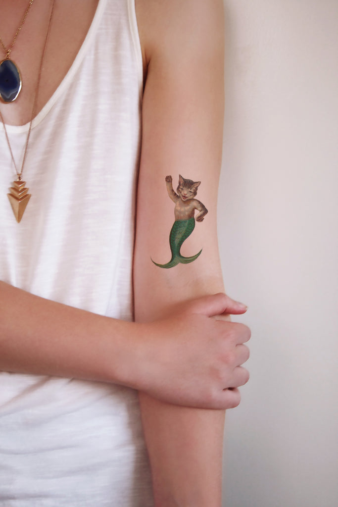 Cat mermaid temporary tattoo - a temporary tattoo by Tattoorary