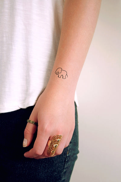 Small elephant temporary tattoo (set of two) - a temporary tattoo by Tattoorary