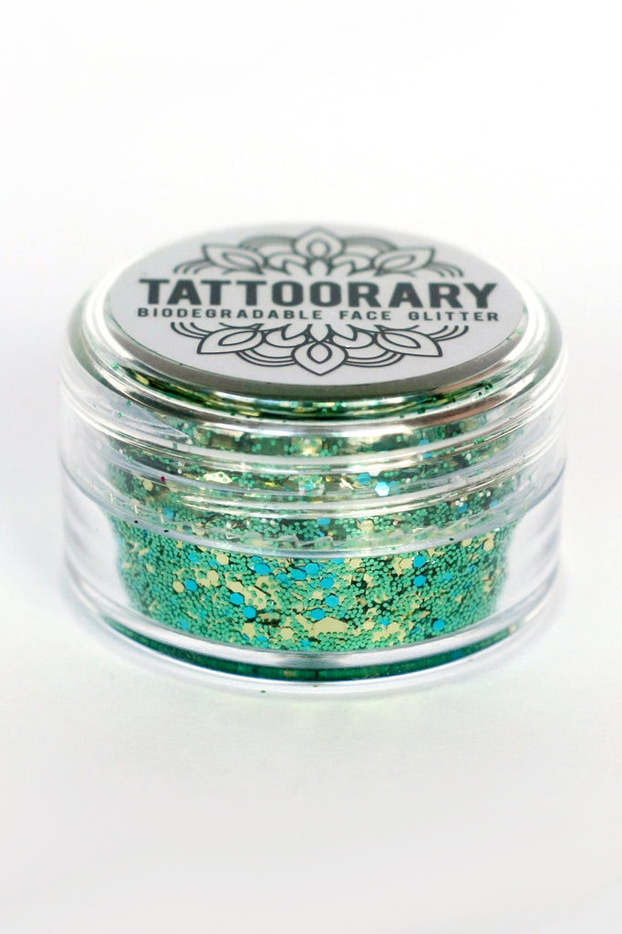 Biodegradable chunky face glitter in 'Golden Forest' - a temporary tattoo by Tattoorary