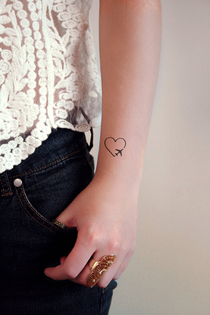 Heart and plane temporary tattoo - a temporary tattoo by Tattoorary