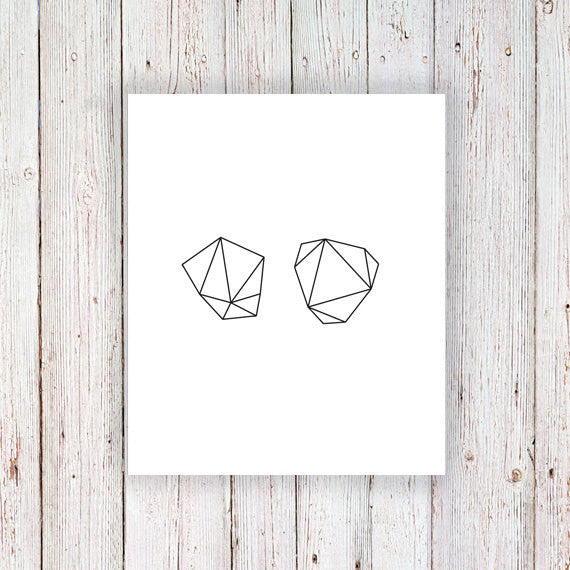 Geometric rock temporary tattoo set (2 pieces) - a temporary tattoo by Tattoorary