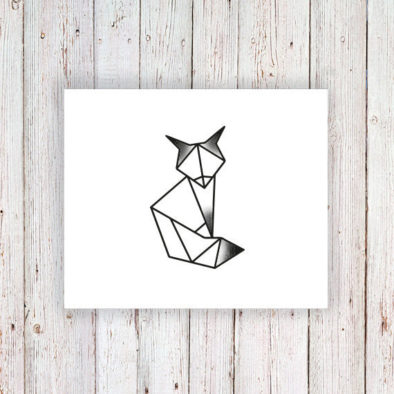 Geometric fox temporary tattoo - a temporary tattoo by Tattoorary