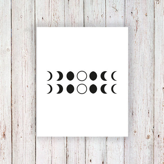 Moon phase temporary tattoo set (2 pieces) - a temporary tattoo by Tattoorary