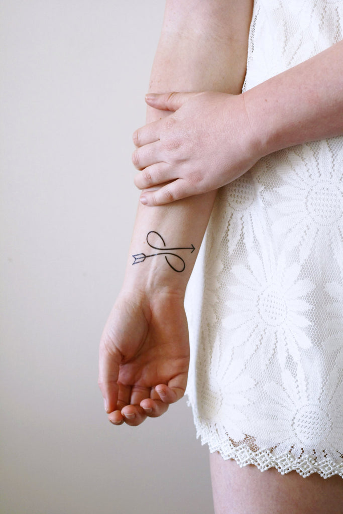 Infinity arrow temporary tattoo - a temporary tattoo by Tattoorary