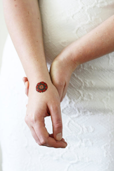Red flower temporary tattoo - a temporary tattoo by Tattoorary
