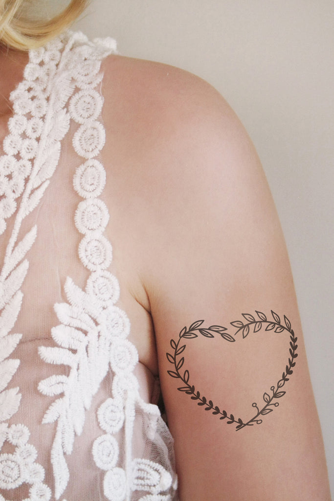 Heart leafs temporary tattoo