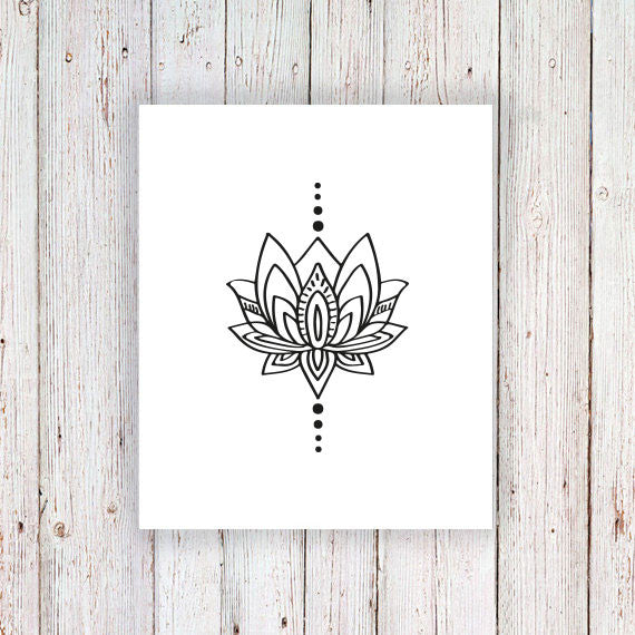 Small lotus temporary tattoo - a temporary tattoo by Tattoorary