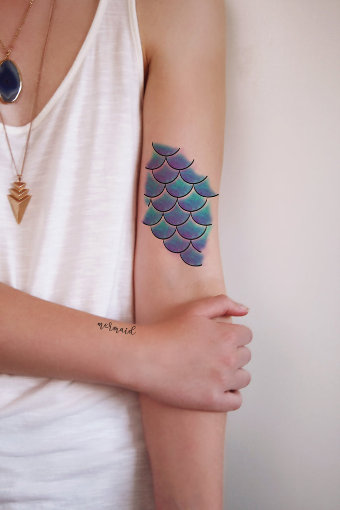 mermaid scales temporary tattoo temporary tattoos by