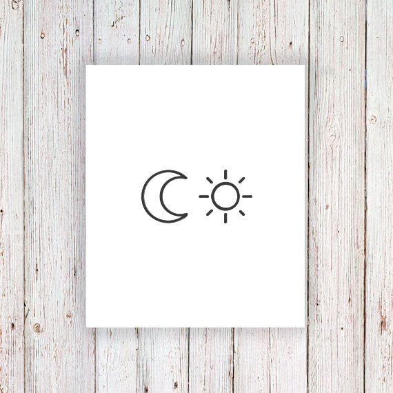 Sun and moon temporary tattoo set - a temporary tattoo by Tattoorary