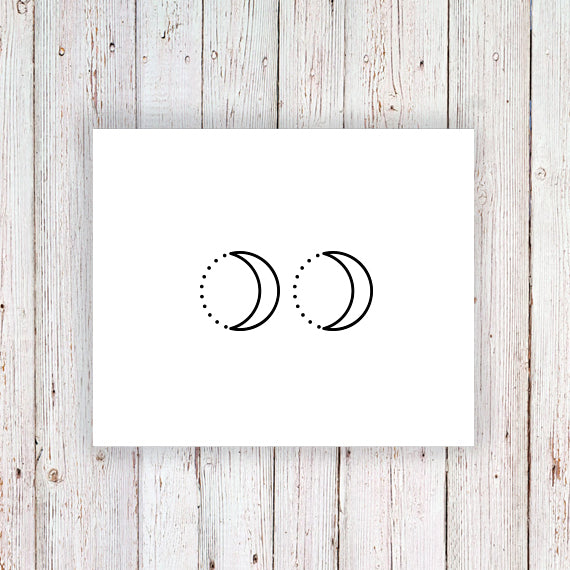 Moon and dots temporary tattoo (set of two) - a temporary tattoo by Tattoorary