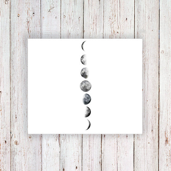 Moon phase temporary tattoo - a temporary tattoo by Tattoorary