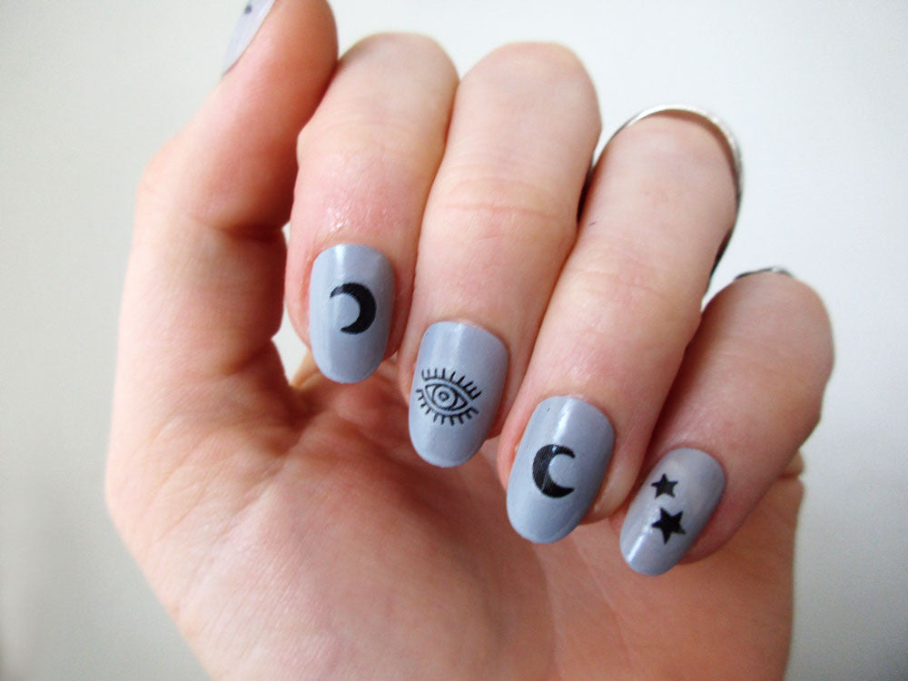 Moon & Stars nail decals - a temporary tattoo by Tattoorary