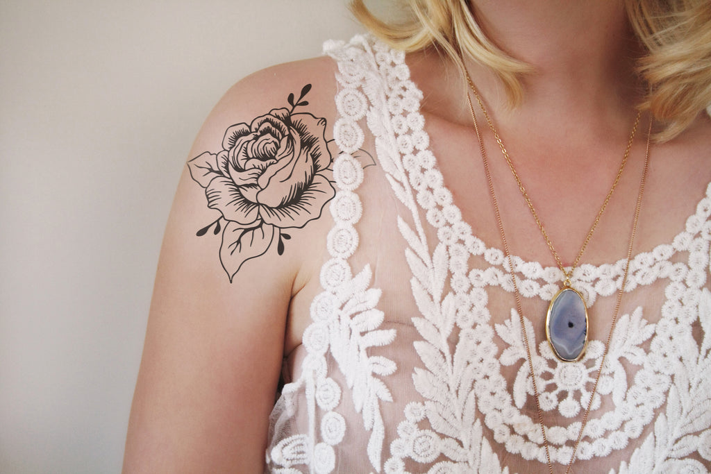 Large black and white rose temporary tattoo - a temporary tattoo by Tattoorary
