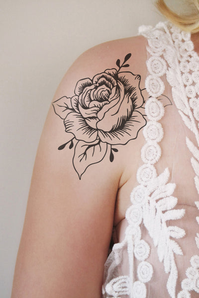 Black and white rose temporary tattoo