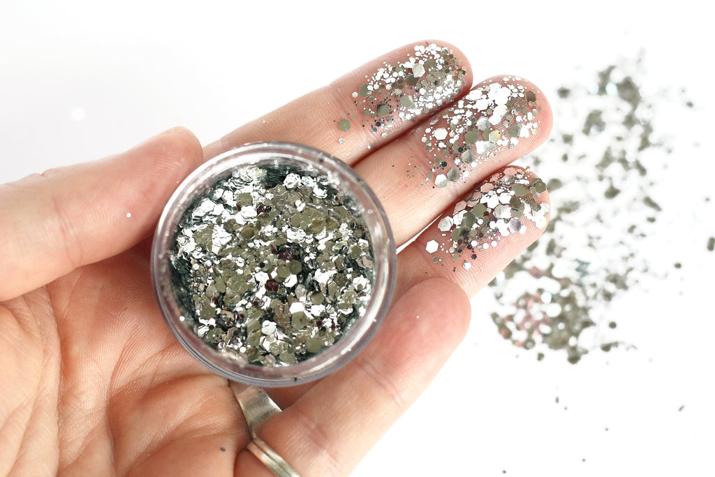 Biodegradable chunky face glitter in 'Silver Moon' - a temporary tattoo by Tattoorary