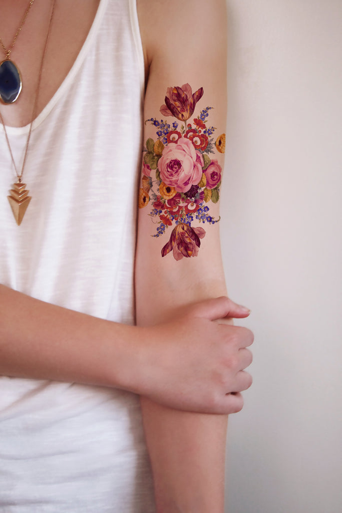 Large vintage floral temporary tattoo - a temporary tattoo by Tattoorary