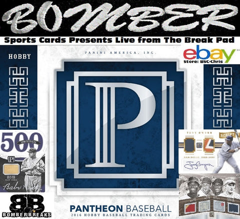 2016 Panini Pantheon Baseball 4 Box 32 HITS! Case Break -(eBay Store BSC-Chris Team Auctions*) - Ending WEDNESDAY @7:30pm ET - 12/12/18