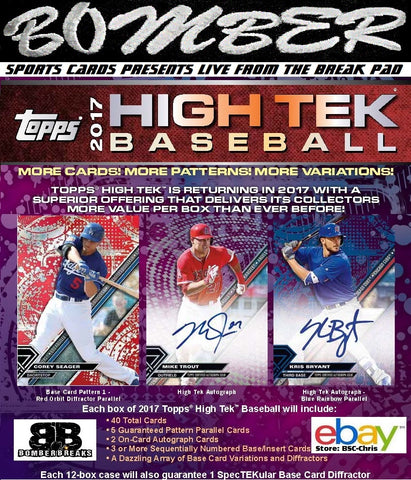 2017 Topps High Tek Baseball 6 Box Half Case Break - (eBay Store BSC-Chris Team Auctions*) - Ending THURSDAY 8pm ET 11/16/17