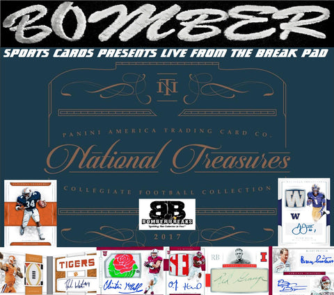 Tonight!!! 2017 Panini National Treasures College Football 4 Box Case Break (Break Credit Giveaway!) - Random Team #1 - Live 9:45pm ET 9/19/17