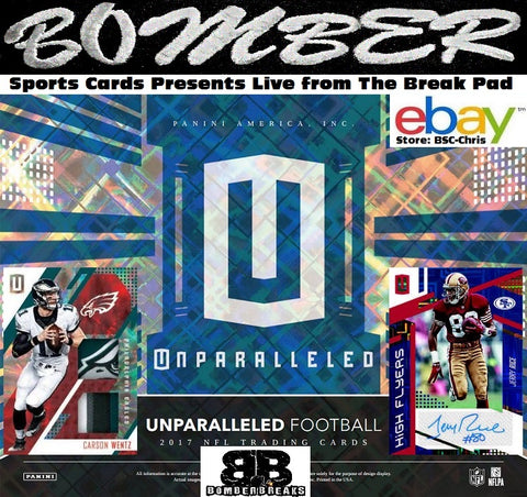 2017 Panini Unparalleled Football 8 Box Half Case Break - (eBay Team Auctions) [2nd Half] - Ending WEDNESDAY 8:00pm ET 8/16/17