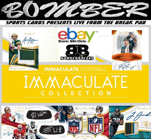 (eBay's Wednesday Night Auctions Break, the 1st half of the case, is planned for 9pm ET the 18th) 2017 Panini Immaculate Football 3 Box 1/2 Case Break [2nd Half] - (eBay Store BSC-Chris Team Auctions*) - Ending THURSDAY @8:32pm ET 1/18/18