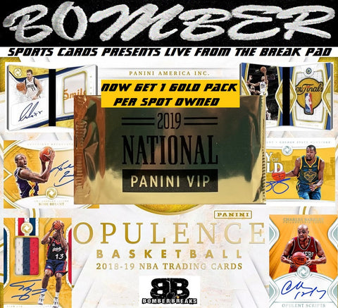 (Over $500 In Freebies Here - GET 1 VIP GOLD PACK PER SPOT & $100 In Break Cred Given Away*) 2018/19 Panini Opulence Basketball 3 Box Case Break - Random Hit #1 - Live 9/18/19