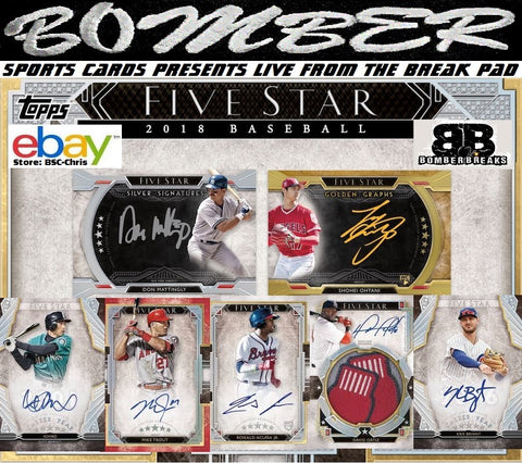 2018 Topps Five Star Baseball 8 Box Case Break - (eBay Store BSC-Chris Team Auctions*) - Ending SUNDAY @8:34pm ET - 10/21/18